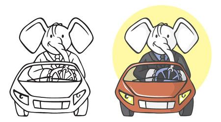 Fashionable elephant businessman on a car vector illustration set 일러스트