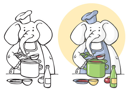 illustration on white background elephant cook cooking soup