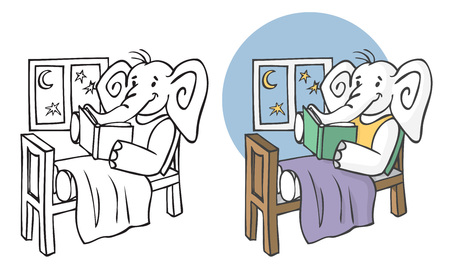 illustration on white background. Elephant reading a book for the night in a bed by the window