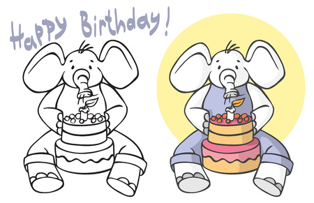 illustration on white background. The elephant sits and blows the candle on the birthday cake