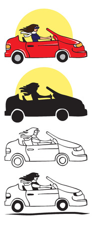 illustration on white background. a stylish girl is driving a car. Silhouette and sun