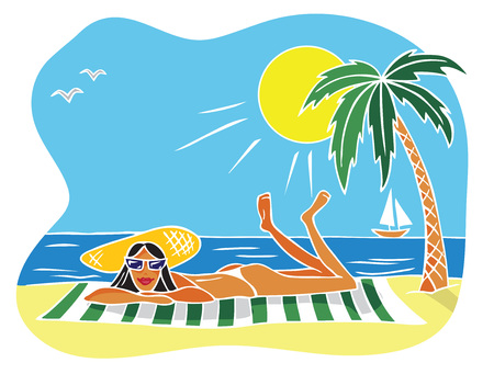illustration of a woman in a hat lies on the beach near a palm tree on a towel