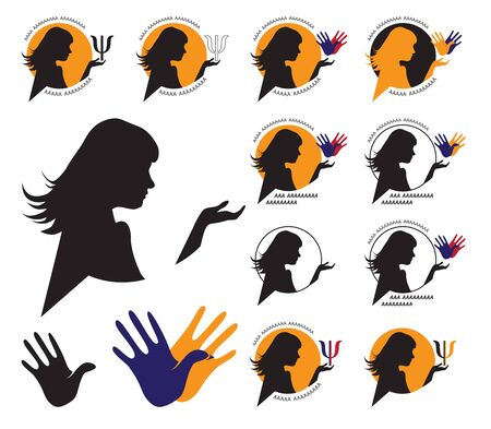Illustration on white background in a circle a woman's silhouette and a sign of psychology
