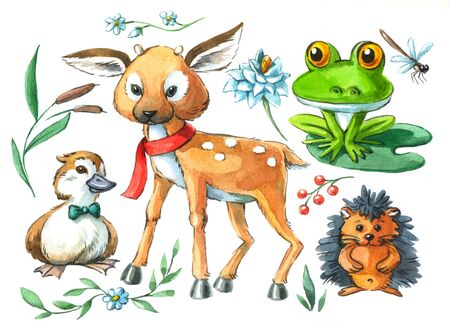 watercolor illustration on white background cute animals deer, duckling, frog, hedgehog, plants Фото со стока