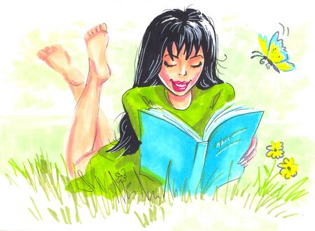 Illustration markers on paper. Young woman reading a book on the nature on the grass. Near the butterflies fly.