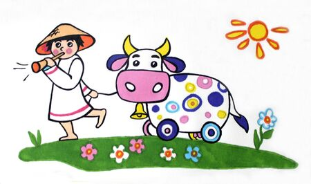 illustration on a white background a young shepherd plays the pipe and leads a toy cow on the grass. The sun is shining in the summer