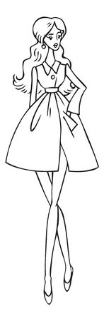 fashion illustration on a white background. Beautiful slender girl goes in a coat