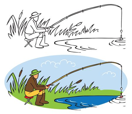 illustration on a white background. Fisherman catches fish on the lake in summer