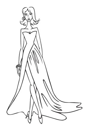 fashion illustration on a white background. Woman in a beautiful long dress with a slit Çizim