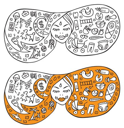 illustration on a white background. A young woman who thinks about life before pregnancy and after. Family icons