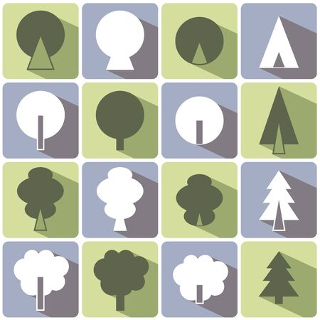 color set of icons with shadows. deciduous and coniferous trees