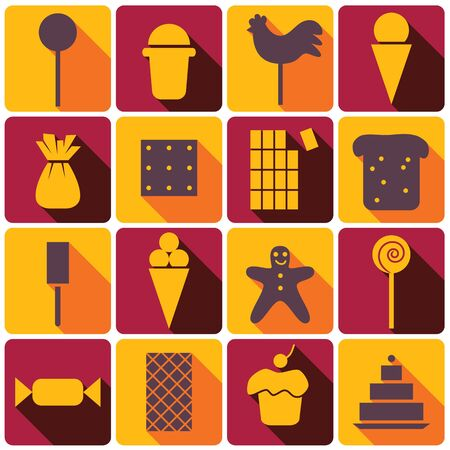 Color sweets and dessert icons set with shadows