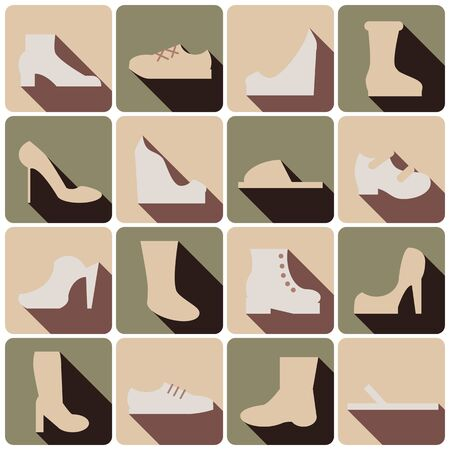 set of colored shoes icons with shadows