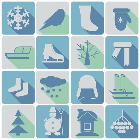 winter colored icons set with shadows