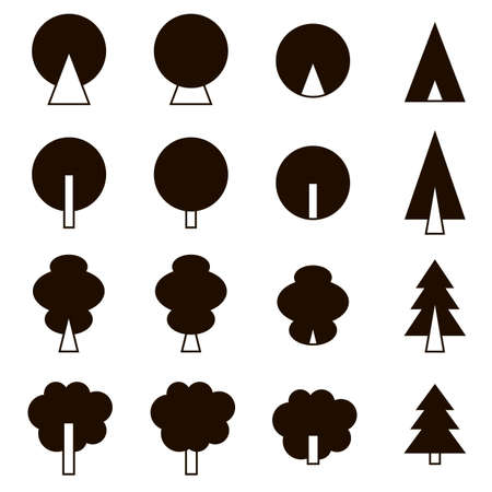 set of black icons on white background coniferous and deciduous trees Stock Illustratie