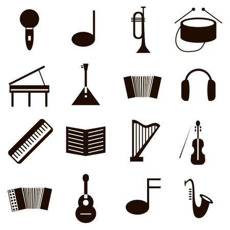 set of black icons on white background musical instruments Vectores