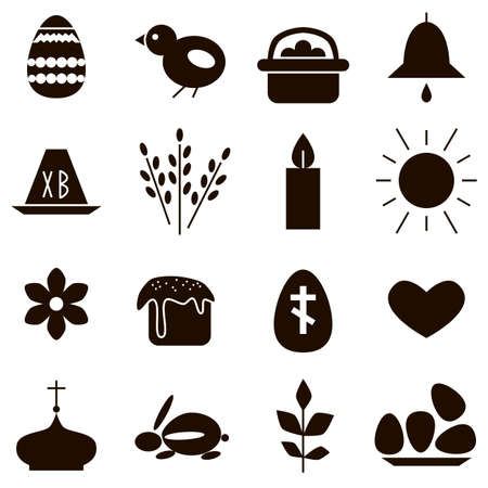 Easter spring black icons on a white background