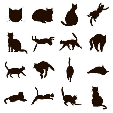 set cat icons from ovals in different poses black