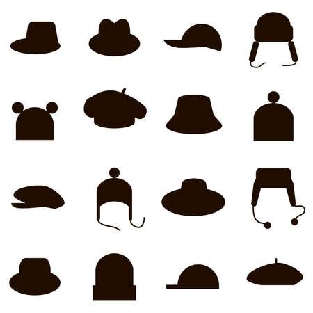set of diferent hats icons black
