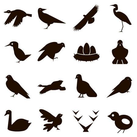 black icons on white background birds wild Иллюстрация