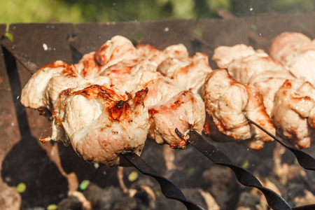 pieces of meat on skewers roasting on the grill. Shish kebab, bbq, pork.
