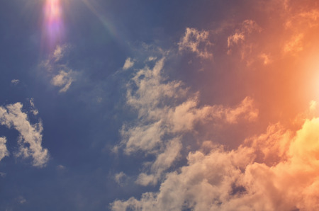 Nature background. Fluffy soft clouds in sky toned Stok Fotoğraf