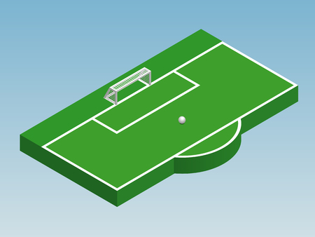 3D isometric illustration of football goal, part of football field, penalty area with ball. Vector illustration of soccer pitch, sport theme. Isolated editable design element for infographics, banner