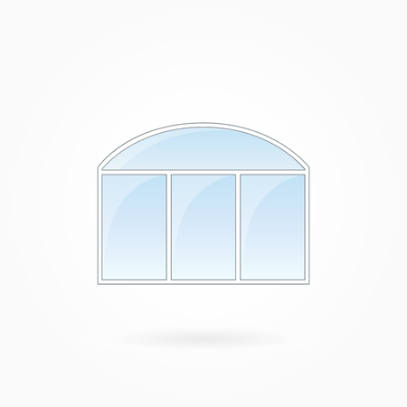 Window frame vector illustration, threefold closed modern window with arched top. White plastic window with blue sky glass, outdoor objects collection, flat style. Isolated design element. Eps 10
