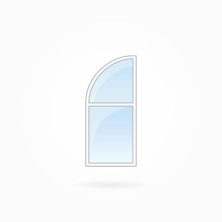 rotund: Window frame vector illustration, single closed modern window with rounded valve. White plastic window with blue sky glass, outdoor objects collection, flat style. Isolated design element. Eps 10.