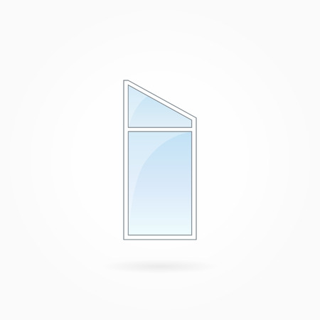 Window frame vector illustration, single closed modern window with trapezium leaf. White plastic window with blue sky glass, outdoor objects collection, flat style. Isolated design element. Eps 10. Illustration