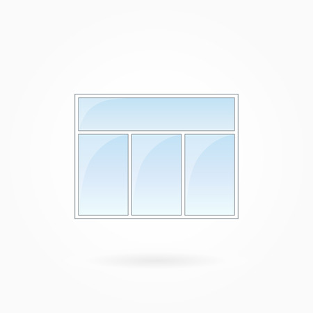 tripartite: Window frame vector illustration, rectangular threefold closed window with single top. White plastic window with blue sky glass, outdoor objects collection, flat style. Isolated design element. Eps 10