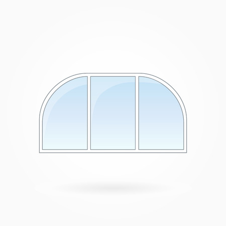 arched: Window frame vector illustration, threefold arched window with two rounded corners. White plastic window with blue sky glass, outdoor objects collection, flat style. Isolated design element. Eps 10 Illustration