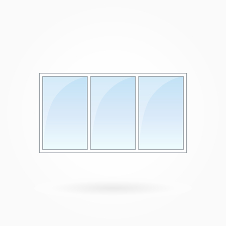tripartite: Window frame vector illustration, tripartite closed modern windows. White plastic window with blue sky glass, outdoor objects collection, flat style. Isolated design element for your creations. Eps 10 Illustration
