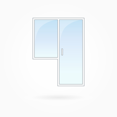 double entry: Window and door frame vector illustration, transparent closed balcony door. White plastic door with blue sky glass, outdoor objects collection, flat style. Editable isolated design element. Eps 10