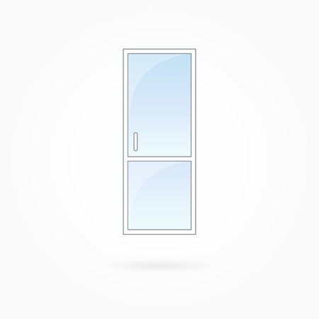 forepart: Door frame vector illustration, single closed transparent door with two vertical halves. White plastic door with blue sky glass, outdoor objects collection, flat style. Isolated design element. Eps 10