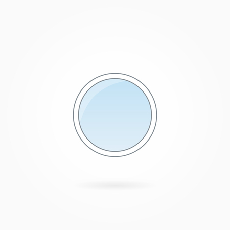 illuminator: Window frame vector illustration, single closed round illuminator. White plastic window with blue sky glass, outdoor objects collection, flat style. Isolated design element for your creations. Eps 10