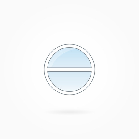 rotund: Window frame vector illustration, two-leaved closed round illuminator. White plastic window with blue sky glass, outdoor objects collection, flat style. Editable isolated design element. Eps 10