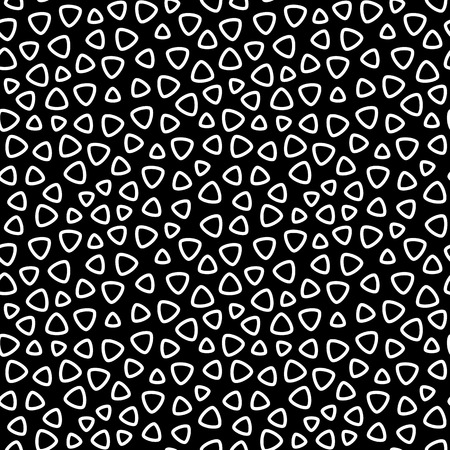 perforated: Vector monochrome seamless pattern, rounded lined figures, chaotic rotation, black & white background. Abstract geometric texture for tileable print, decoration, textile, wallpaper, digital, website