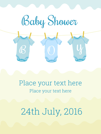 baby blue: Baby Shower invitation card template for baby boy. Cute design elements for postcard, invitation, banner, flyer, collage, decoration. Editable vector illustration. Pastel colors, blue and yellow Illustration