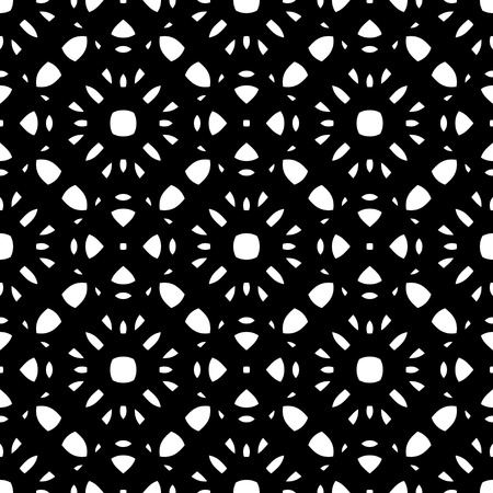 perforated: Vector monochrome seamless pattern, black & white repeat ornamental texture, oriental style. Simple abstract mosaic background. Design element for prints, decoration, textile, digital, web, wrapping