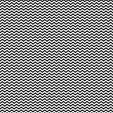 wavy lines: Vector seamless pattern, horizontal wavy lines, small waves, smooth bends. Simple monochrome black & white texture. Abstract endless background. Design element for prints, decor, textile, furniture Illustration