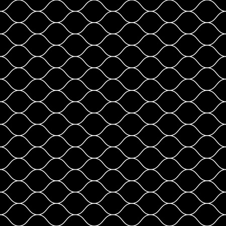 Vector monochrome seamless pattern, white thin wavy lines on black backdrop. Illustration of mesh, fishnet. Subtle dark background, simple repeat texture. Design for prints, decoration, digital, web Vectores