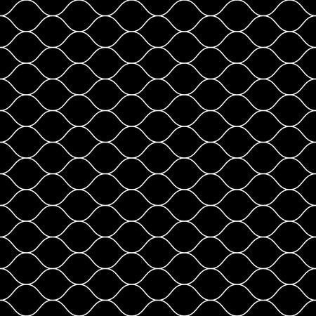 Vector monochrome seamless pattern, white thin wavy lines on black backdrop. Illustration of mesh, fishnet. Subtle dark background, simple repeat texture. Design for prints, decoration, digital, web Stock Illustratie
