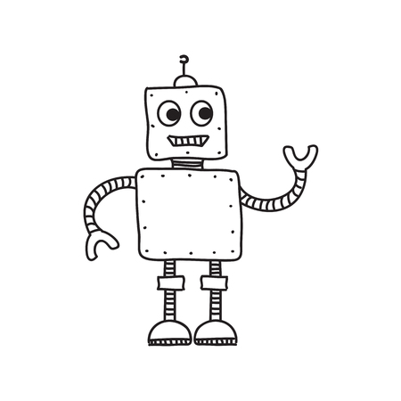 Cartoon robot isolated on white, hand drawn vector illustration, doodle style picture. Sketch design elements for banner,  card, collage.