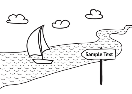 Hand drawn sketch vector illustration, sail boat floats on the river, passing direction pointer. Editable isolated design elements for banner, website,