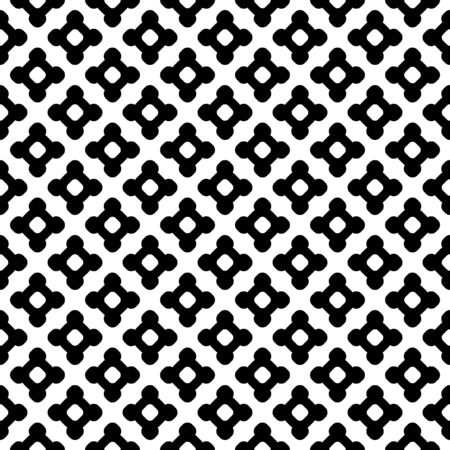 black lines: Vector monochrome seamless pattern. Abstract black & white texture, simple geometric figures, smooth lines, repeat tiles. Endless minimalist background, editable design element for your creations