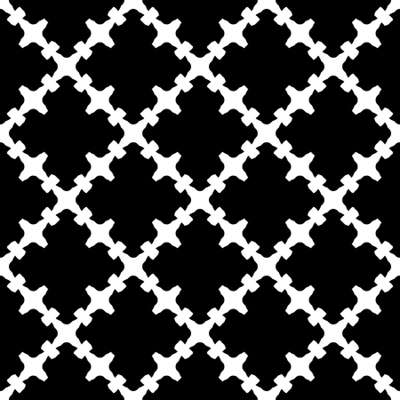 quivering: Vector monochrome seamless pattern. Abstract black & white texture with curved geometric shapes, barbed figures. Repeat tiles. Endless ornamental background, gothic style. Design for decor, prints