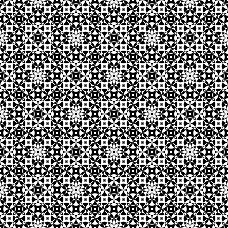 specular: Vector monochrome seamless pattern. Abstract ornamental texture, repeat geometric tiles. Black & white endless specular background, illusion of movement. Design element for prints, decor, digital, web