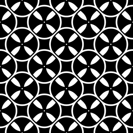 videotape: Vector monochrome seamless pattern. Simple black & white repeat geometric texture. Illustration of tapes, spools. Abstract dark endless background, repeating tiles. Design for decor, prints, textile