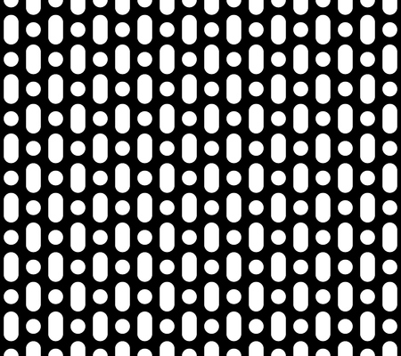 Vector monochrome seamless pattern, simple geometric background, black & white perforated surface. Abstract repeat texture for prints, decoration, textile, digital, cover, package, textile, wrapping Иллюстрация
